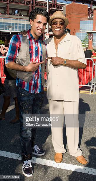 Singer Tiago and Billy Paul attend the 2010 Phillies Sound of Philadelphia Celebration at Citizens Bank Park on June 18 2010 in Philadelphia...