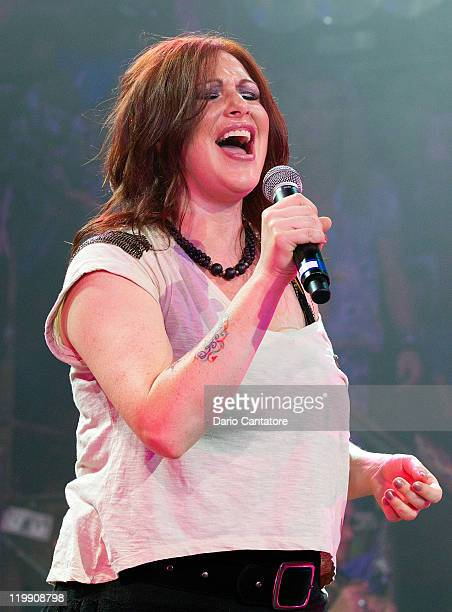 Singer Tiffany performs at Broadway's Rock Of Ages at Helen Hayes Theatre on July 26 2011 in New York City
