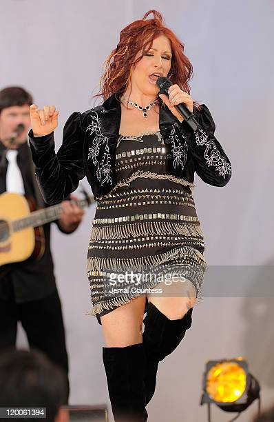 Singer Tiffany performs on ABC's 'Good Morning America' at Rumsey Playfield Central Park on July 29 2011 in New York City
