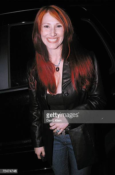 Singer Tiffany poses outside KROQ radio station building March 13 2002 in Culver City CA Tiffany is featured on the April 2002 issue of Playboy...