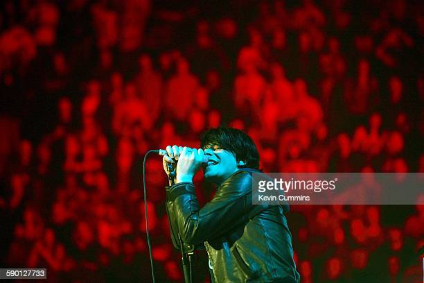 Singer Tim Burgess of English pop group the Charlatans performing at the Versus Cancer charity concert at the Manchester Evening News Arena...