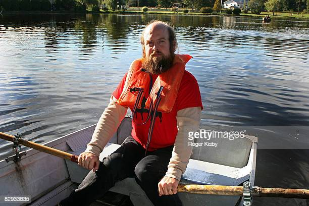 Singer Tim Harrington of Les Savy Fav in a rowboat during the ATP New York 2008 music festival at Kutshers Country Club on September 20, 2008 in...