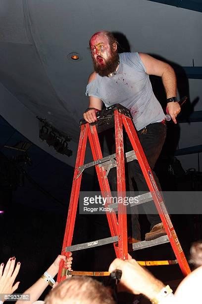 Singer Tim Harrington of Les Savy Fav perfoms onstage during the ATP New York 2008 music festival at Kutshers Country Club on September 20, 2008 in...