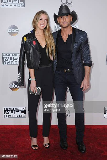 Singer Tim McGraw and daughter Maggie McGraw arrive at the 2016 American Music Awards at Microsoft Theater on November 20 2016 in Los Angeles...