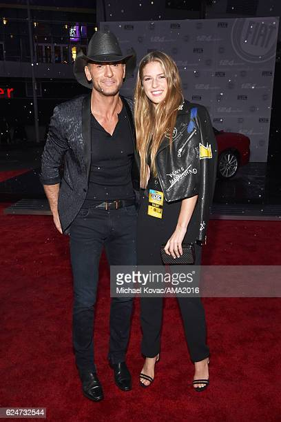 Singer Tim McGraw and Maggie McGraw attend the 2016 American Music Awards Red Carpet Arrivals sponsored by FIAT 124 Spider at Microsoft Theater on...