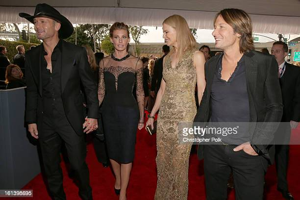 Singer Tim McGraw singer Faith Hill actress Nicole Kidman and singer Keith Urban attend the 55th Annual GRAMMY Awards at STAPLES Center on February...
