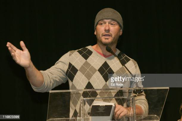 Singer Tim McGraw speaks at the Life Lessons from Baseball fundraiser at the Allen Arena at Lipscomb University on January 12, 2009 in Nashville,...