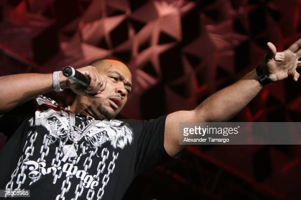 Singer Timbaland performs on stage at the Bank Atlantic Center during the Y100 Jingle Ball concert on December 15 2007 in Sunrise Florida