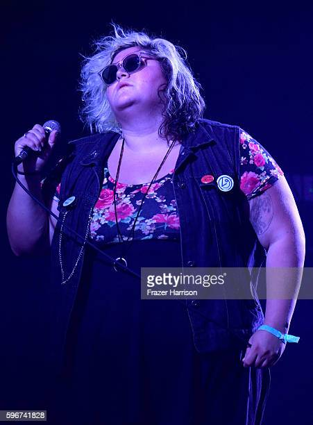 Singer Tina Halladay of Sheer Mag performs onstage during FYF Fest 2016 at Los Angeles Sports Arena on August 27 2016 in Los Angeles California