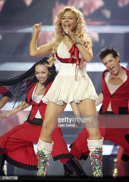 Singer Tina Karol of Ukraine performs at the dress rehearsal prior to the semifinals of the 2006 Eurovision Song Contest May 18 2006 in Athens Greece