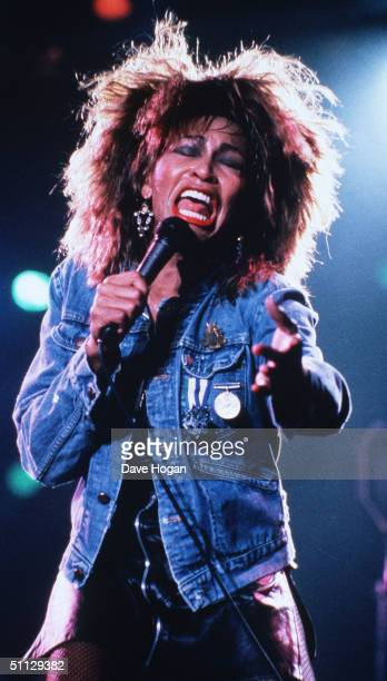 Singer Tina Turner performs live on stage at Wembley Stadium