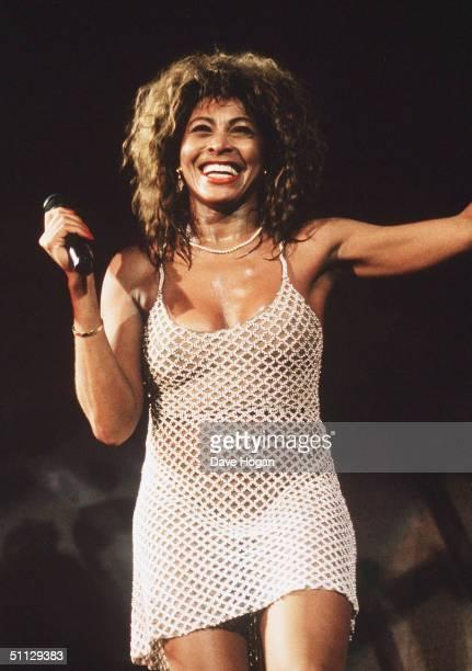 Singer Tina Turner performs live on stage at Wembley Stadium.