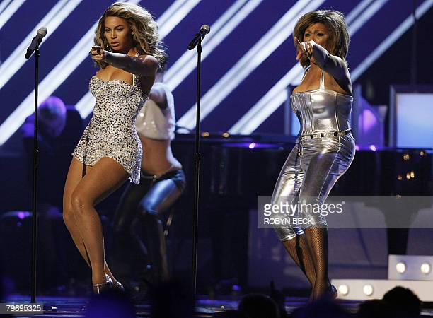 Singer Tina Turner performs with Nominee for Record Of The Year Beyonce at the 50th Grammy Awards in Los Angeles on February 10 2008 AFP PHOTO/Robyn...