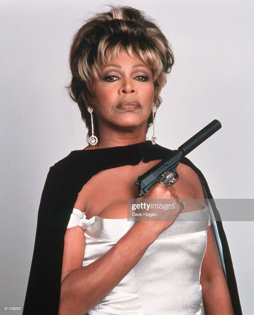 Singer Tina Turner poses for a James Bond style photo shoot at Pinewood Studio's in London. She sang the theme song for the 1995 Bond film 'GoldenEye'.