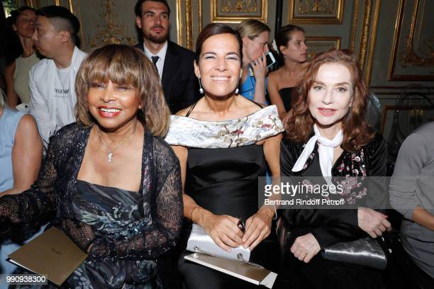 Singer Tina Turner Roberta Armani and Isabelle Huppert attend the Giorgio Armani Prive Haute Couture Fall Winter 2018/2019 show as part of Paris...