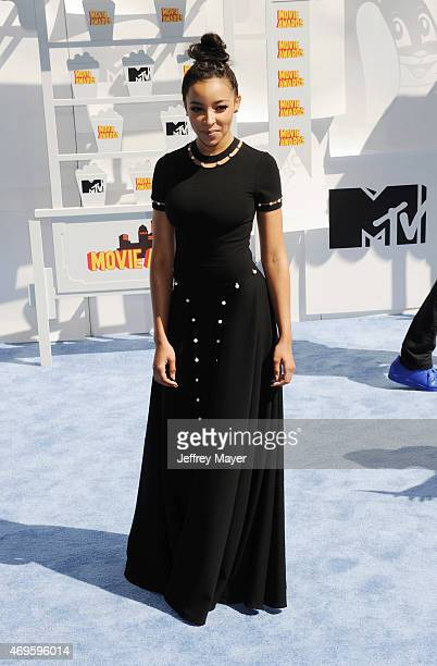 Singer Tinashe arrives at the 2015 MTV Movie Awards at Nokia Theatre LA Live on April 12 2015 in Los Angeles California