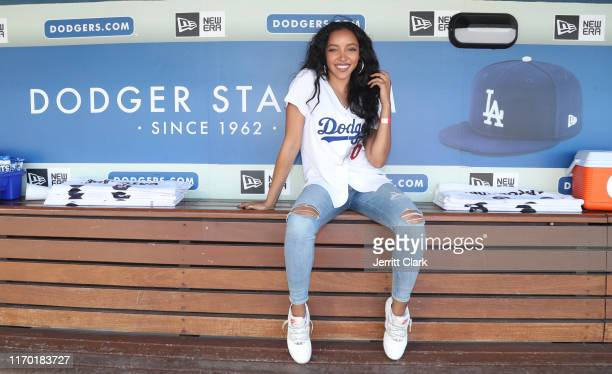 Singer Tinashe attends The Los Angeles Dodgers Game at Dodger Stadium on August 25 2019 in Los Angeles California
