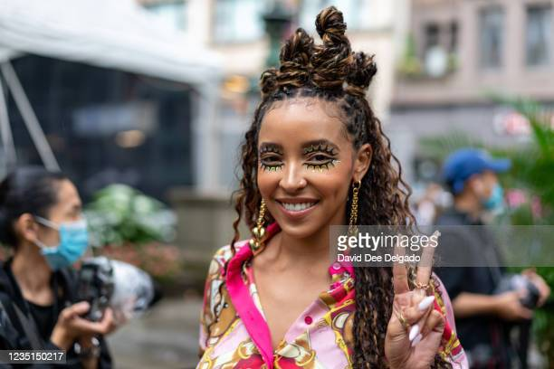 Singer Tinashe is seen leaving the Moschino by Jeremy Scott Spring Summer 2022 fashion show during New York Fashion Week at Bryant Park on September...