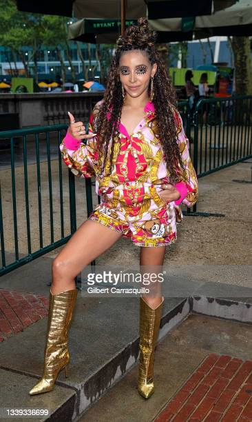 Singer Tinashe is seen leaving the Moschino by Jeremy Scott Spring Summer 2022 fashion show at Bryant Park on September 09, 2021 in New York City.