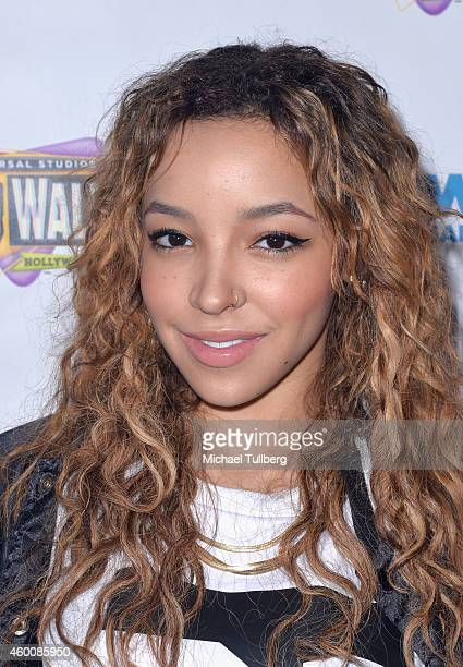 Singer Tinashe poses backstage at 5 Towers Outdoor Concert Arena on December 6 2014 in Universal City California