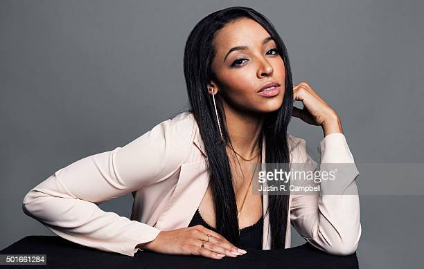 Singer Tinashe poses for a portrait at the 2015 Jingle Ball for Just Jared on December 4 2015 in Los Angeles California