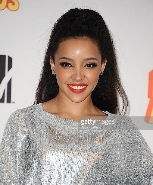 Singer Tinashe poses in the press room at the 2015 MTV Movie Awards at Nokia Theatre LA Live on April 12 2015 in Los Angeles California
