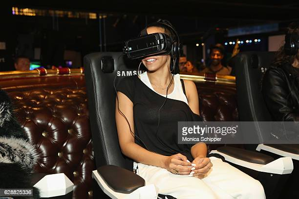Singer Tinashe rides the Santa's Epic Sleigh Ride at Tinashe LIVE Z100 Jingle Ball Viewing Party at Samsung 837 on December 9 2016 in New York City