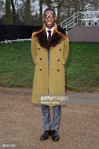 Singer Tinie Tempah attends the Burberry Prorsum show during The London Collections: Men Autumn/Winter 2014 on January 8, 2014 in London, England.