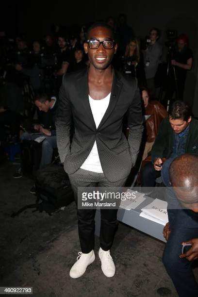 Singer Tinie Tempah attends the Topman Design show during The London Collections: Men Autumn/Winter 2014 on January 6, 2014 in London, England.