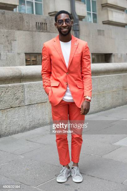 Singer Tinie Tempah wears a Richard James suit on day 2 of London Collections Men on June 16 2014 in London England