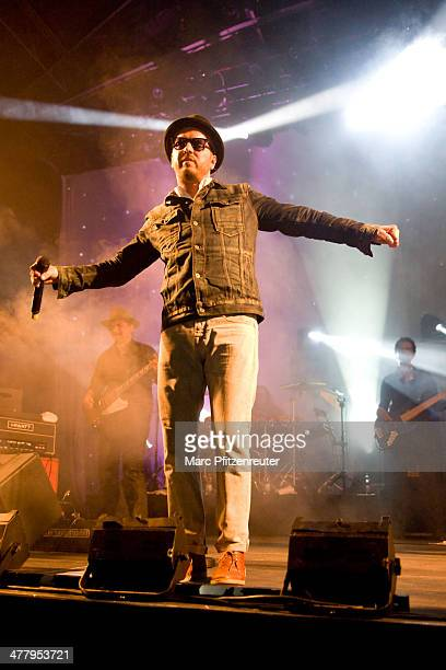 Singer Tino Oac of German pop and soul band Soehne Mannheims performs during their 'Wer fuehlen will muss hoeren Tour' at the EWerk on March 11 2014...