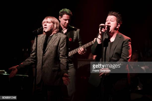 Singer Tobias Kuenzel and Sebastian Krumbiegel of the German band Die Prinzen perform live on stage during a concert at the Admiralspalast on March 3...