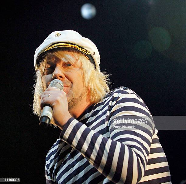 Singer Tobias Kuenzel of the german band Die Prinzen performs live during a concert at the Tempodrom on April 3 2011 in Berlin Germany