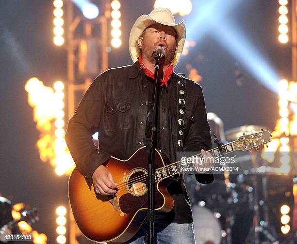 Singer Toby Keith performs onstage during the 49th Annual Academy of Country Music Awards at the MGM Grand Garden Arena on April 6 2014 in Las Vegas...