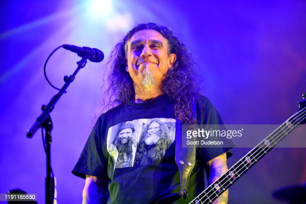 Singer Tom Araya of the band Slayer performs onstage during the bands final show of the Final Campaign tour at The Forum on November 30 2019 in...