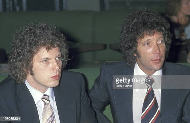 Singer Tom Jones and son Mark Woodward attend the 1978 Coty Awards After Party on September 28 1978 at Xenon Disco in New York City New York