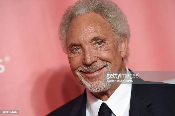 Singer Tom Jones arrives at the 2015 MusiCares Person of The Year honoring Bob Dylan at Los Angeles Convention Center on February 6 2015 in Los...