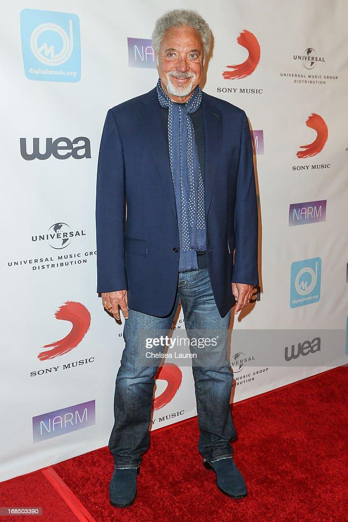 Singer Tom Jones arrives at the NARM Music Biz Awards dinner party at the Hyatt Regency Century Plaza on May 9, 2013 in Century City, California.