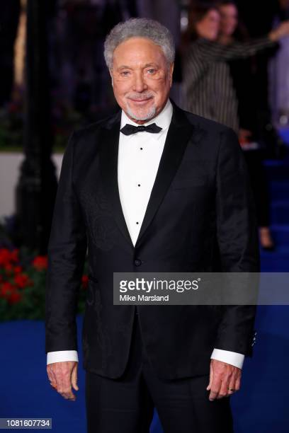 Singer Tom Jones attends the European Premiere of Mary Poppins Returns at Royal Albert Hall on December 12 2018 in London England