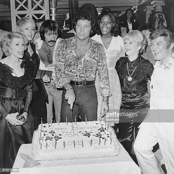 Singer Tom Jones celebrated his 34th birthday June 6 with a starstudded 2 am backstage party at Caesars Palace in Las Vegas Left to right Joan Rivers...