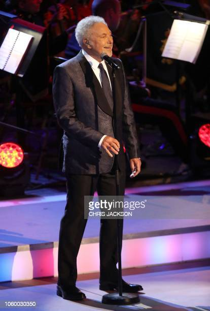 Singer Tom Jones performs at the annual Royal British Legion Festival of Remembrance at the Royal Albert Hall in London on November 10 2018 This...