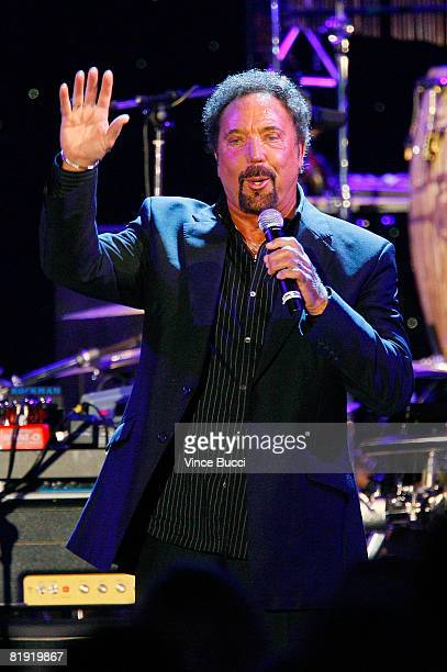 """Singer Tom Jones performs at the Grammy Foundation's """"Starry Night"""" Gala honoring Sir George Martin on July 12, 2008 in Los Angeles, California."""