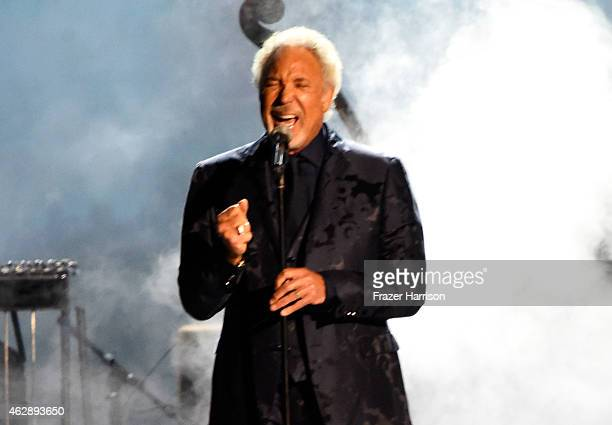 Singer Tom Jones performs onstage at the 25th anniversary MusiCares 2015 Person Of The Year Gala honoring Bob Dylan at the Los Angeles Convention...