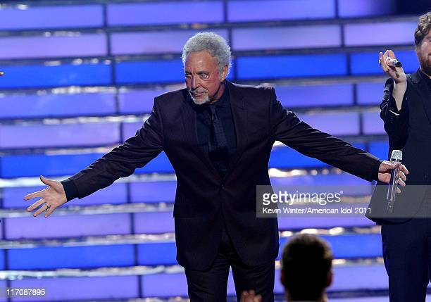 Singer Tom Jones performs onstage during Fox's American Idol 2011 finale results show held at Nokia Theatre LA Live on May 25 2011 in Los Angeles...
