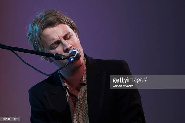 Singer Tom Odell performs on stage at Sony Music on June 16 2016 in Madrid Spain