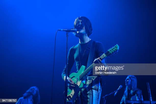 Singer Tom Ogden of Blossoms performs live on stage during a concert as support for Noel Gallagher's High Flying Birds at MaxSchmeling Hall on April...