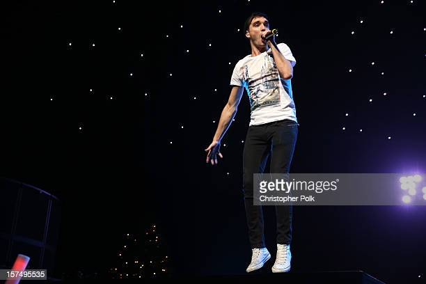 Singer Tom Parker performs onstage during KIIS FM's 2012 Jingle Ball at Nokia Theatre LA Live on December 3 2012 in Los Angeles California