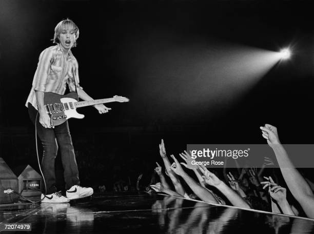Singer Tom Petty performs on stage during a 1981 Chicago Illinois concert Petty and his band The Heartbreakers were in the middle of a 28city tour of...