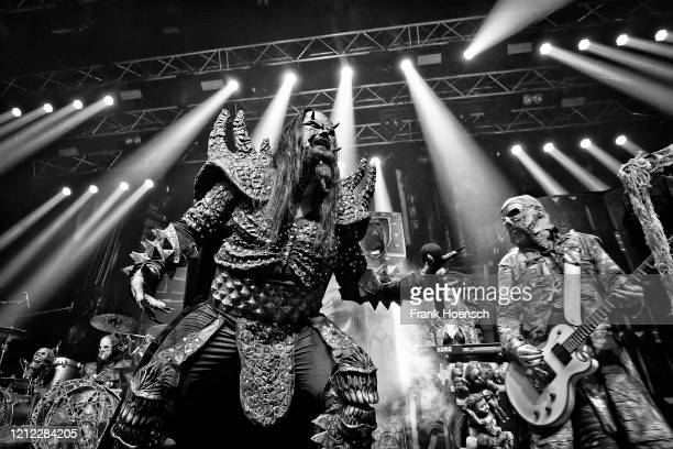 Singer Tomi Putaansuu of the Finnish band Lordi performs live on stage during a concert at the Kesselhaus on March 13, 2020 in Berlin, Germany.