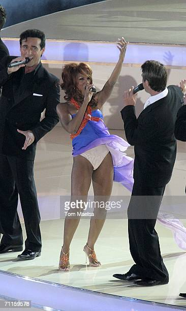 Singer Toni Braxton and the group Il Divo perform on June 8, 2006 at the opening of Adidas World Of Football in Berlin, Germany. The arena was opened...